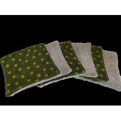 Lingettes lavables pois verts
